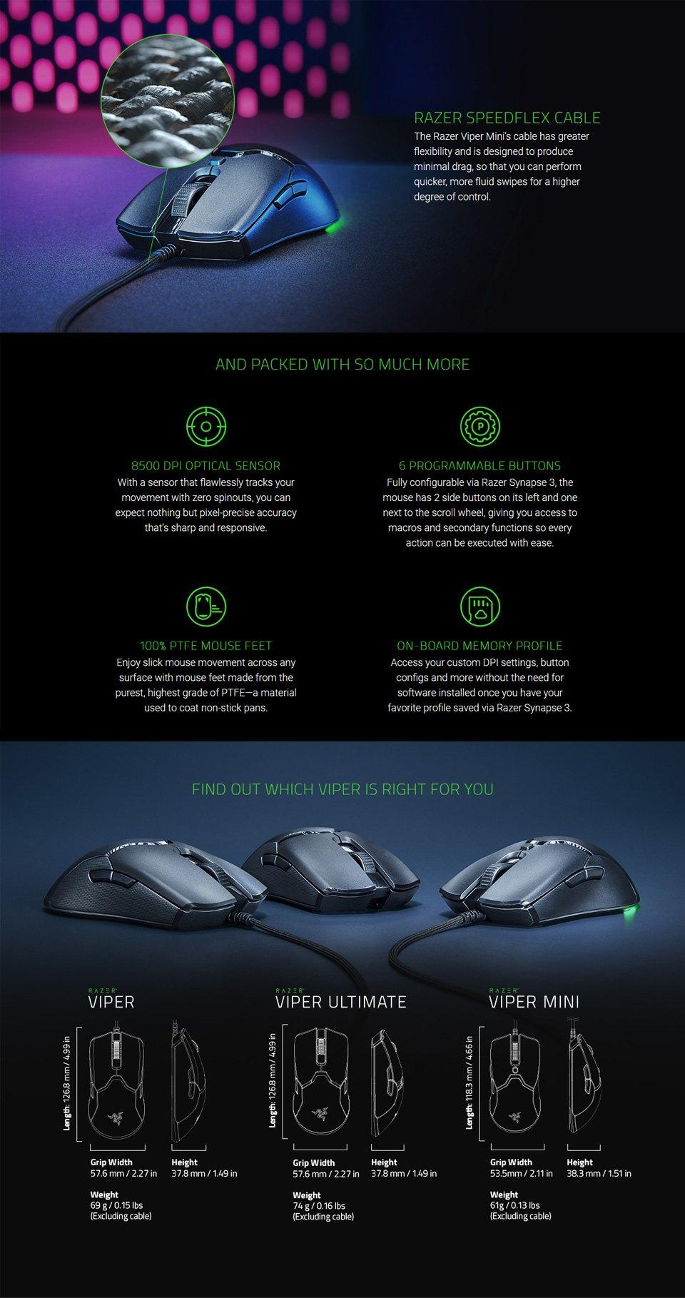 Razer Viper Mini Ultralight Gaming Mouse features 2