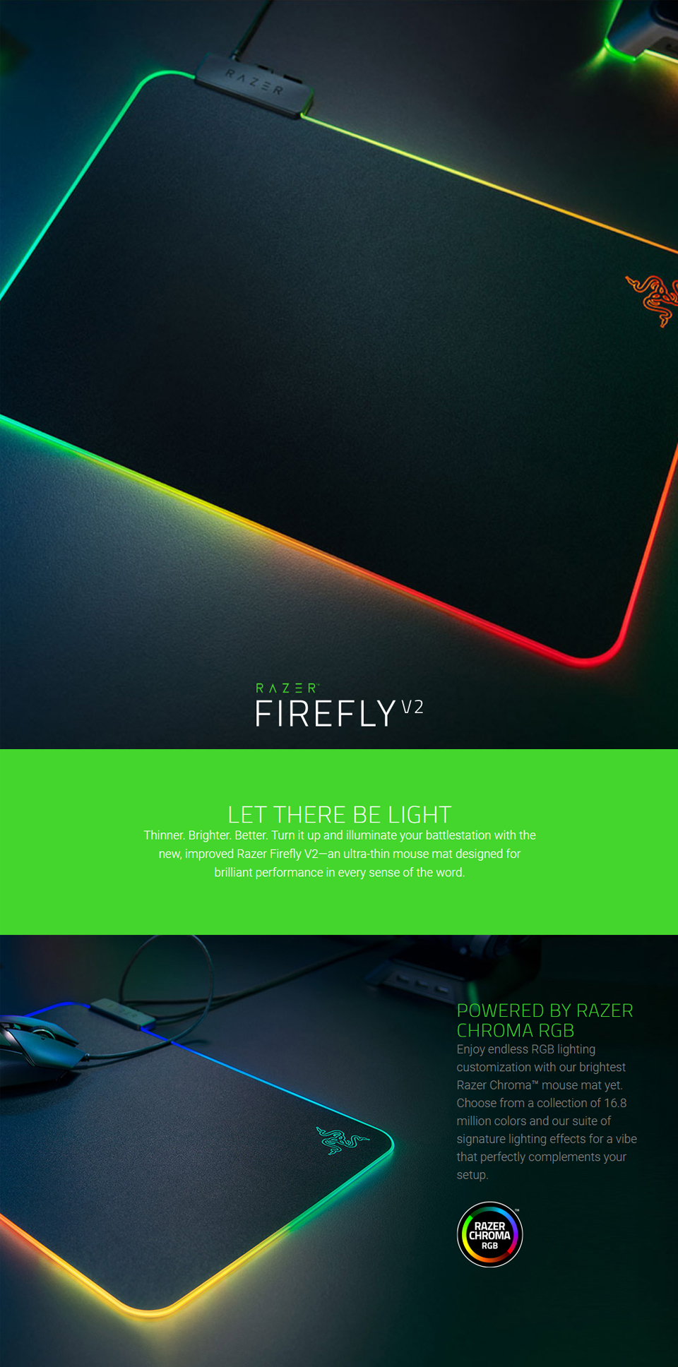 Razer Firefly V2 Chroma Hard Surface Mouse Pad features