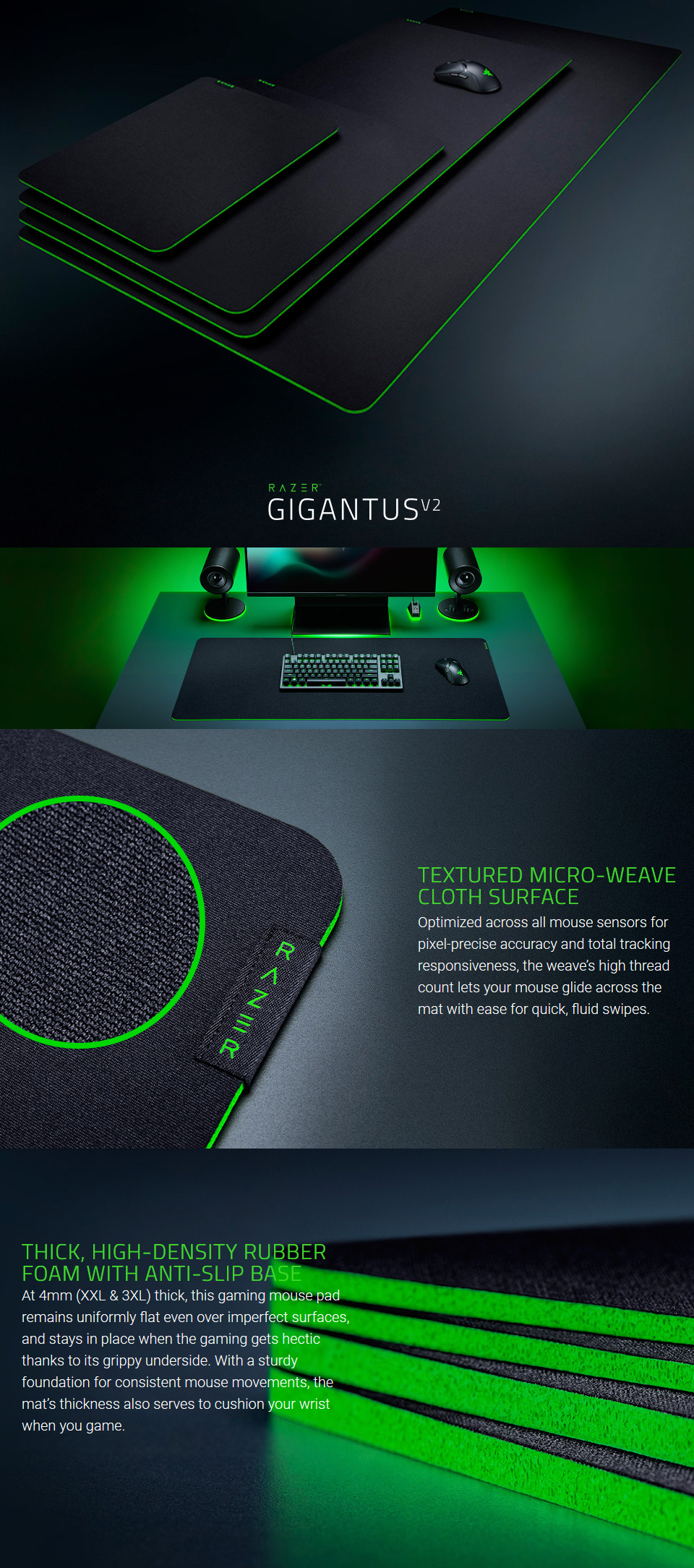 Razer Gigantus V2 Mouse Mat XXL features