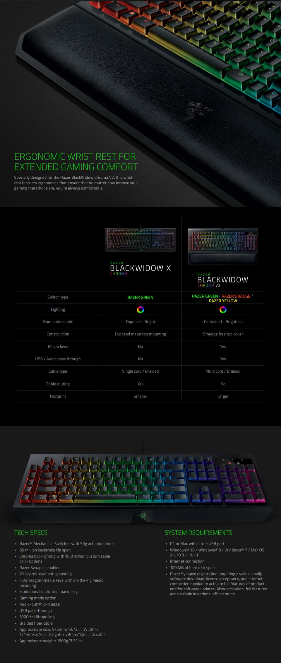 Razer BlackWidow Chroma V2 Mechanical Keyboard Green Switch