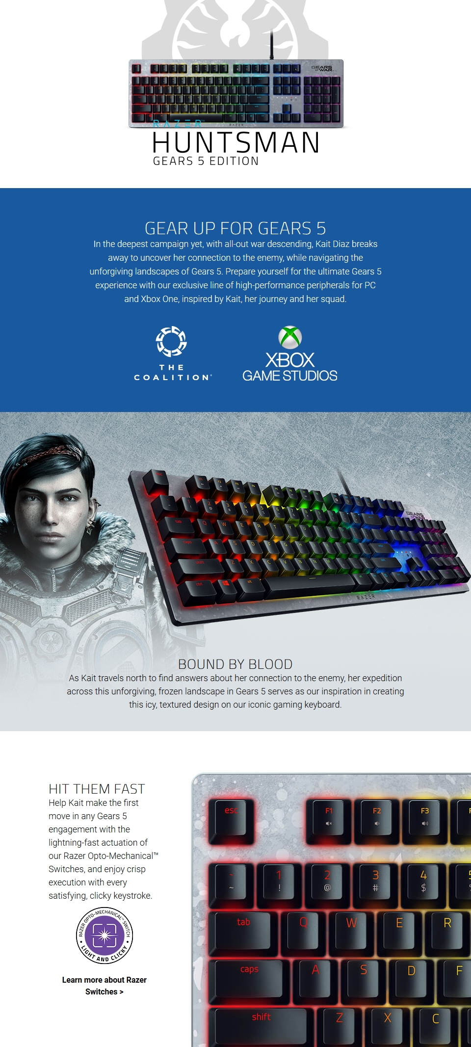 Razer Huntsman Gears 5 Edition Opto-Mechanical Gaming Keyboard features