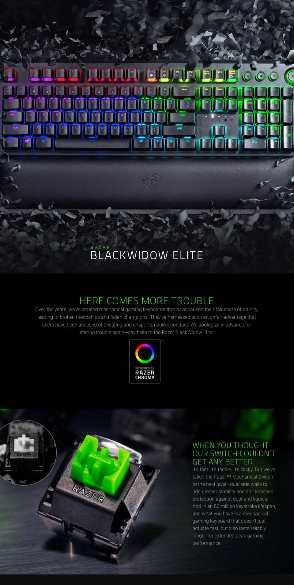 Buy Razer BlackWidow Elite Chroma Mechanical Keyboard Yellow Switch  [RZ03-02622000] | PC Case Gear Australia