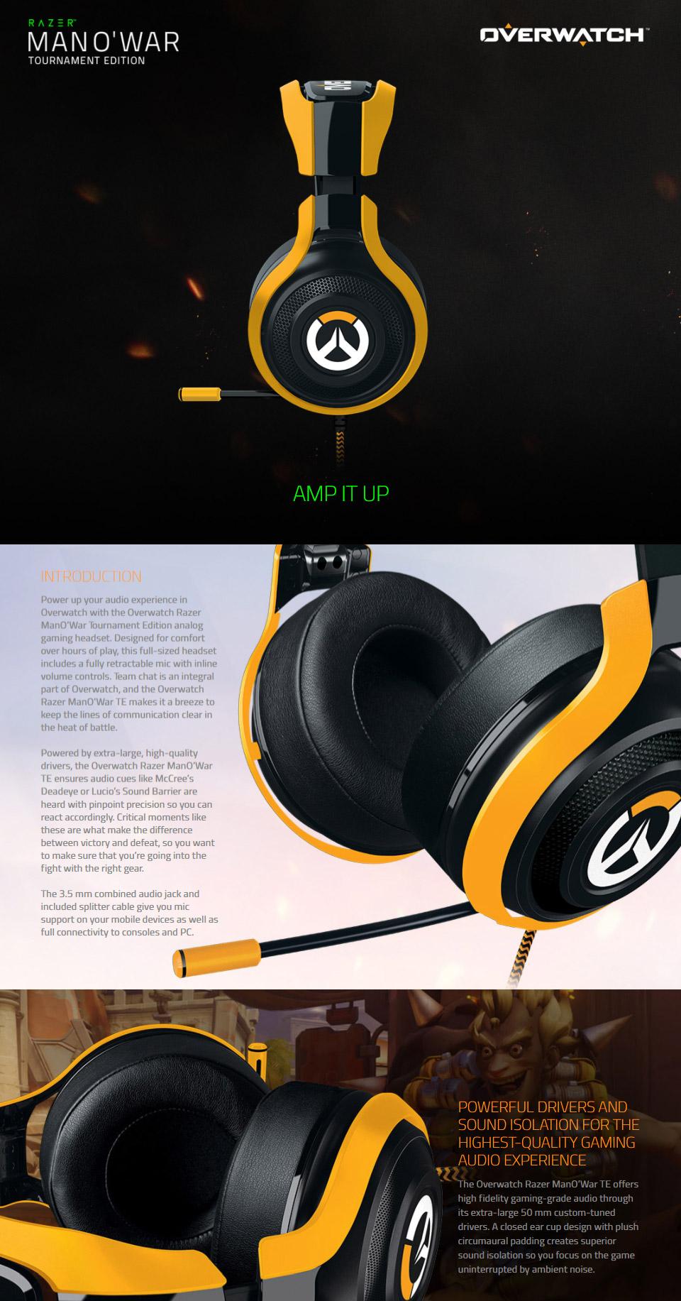 Razer Man O War Tournament Gaming Headset Overwatch Edition