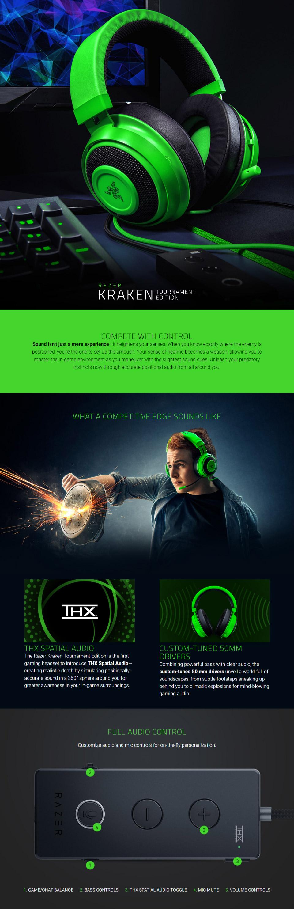 אוזניות גיימינג Razer Kraken Tournament Edition Green
