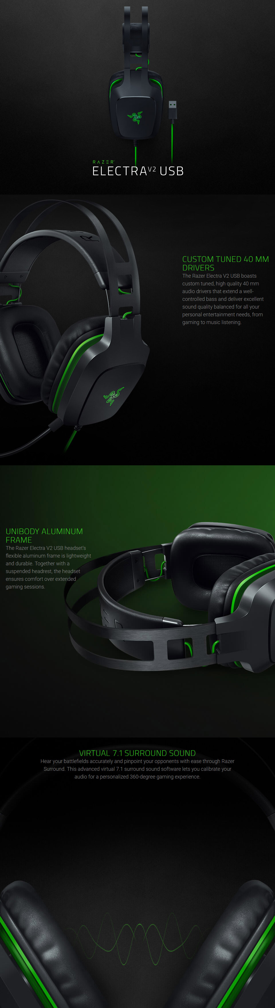 569182220de ... 7.1 surround sound for 360-degree immersion. Outfitted with a unibody  aluminium frame and plush leatherette ear cushions, the Razer Electra V2  USB is ...