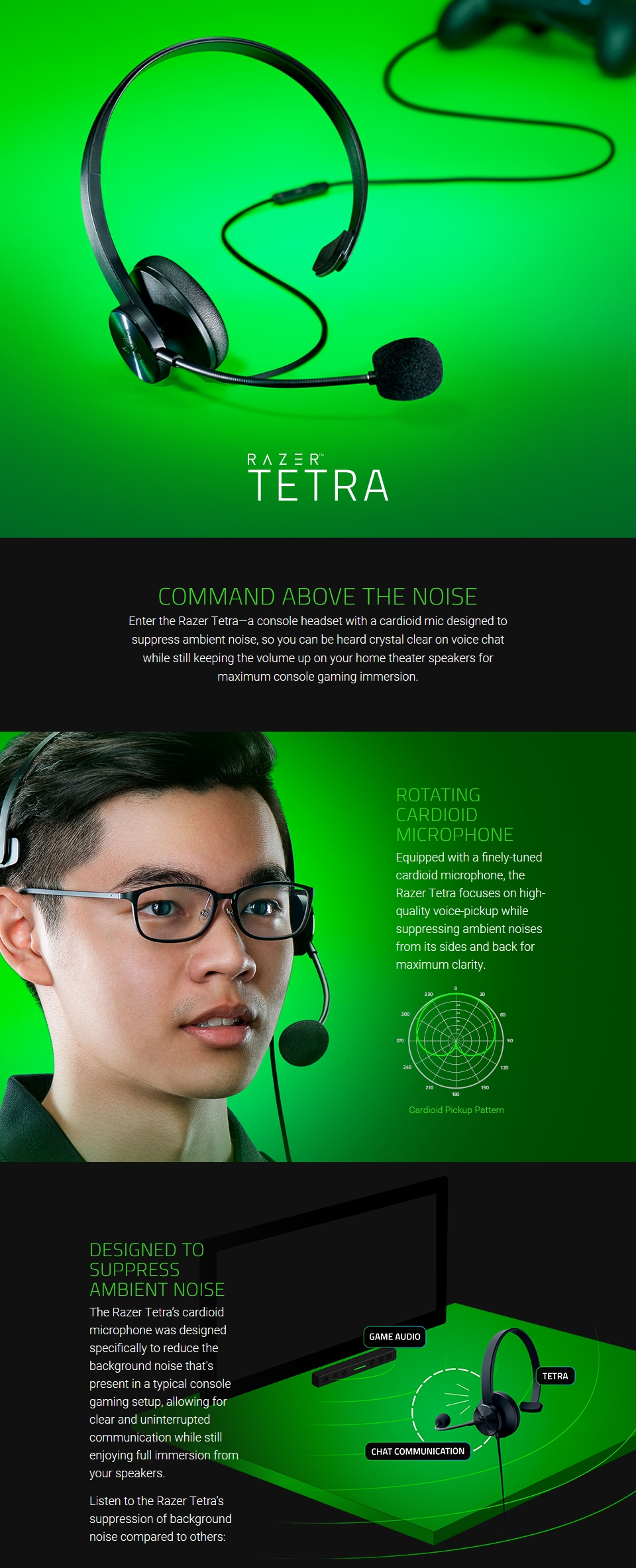 Razer Tetra Wired Console Chat Headset features