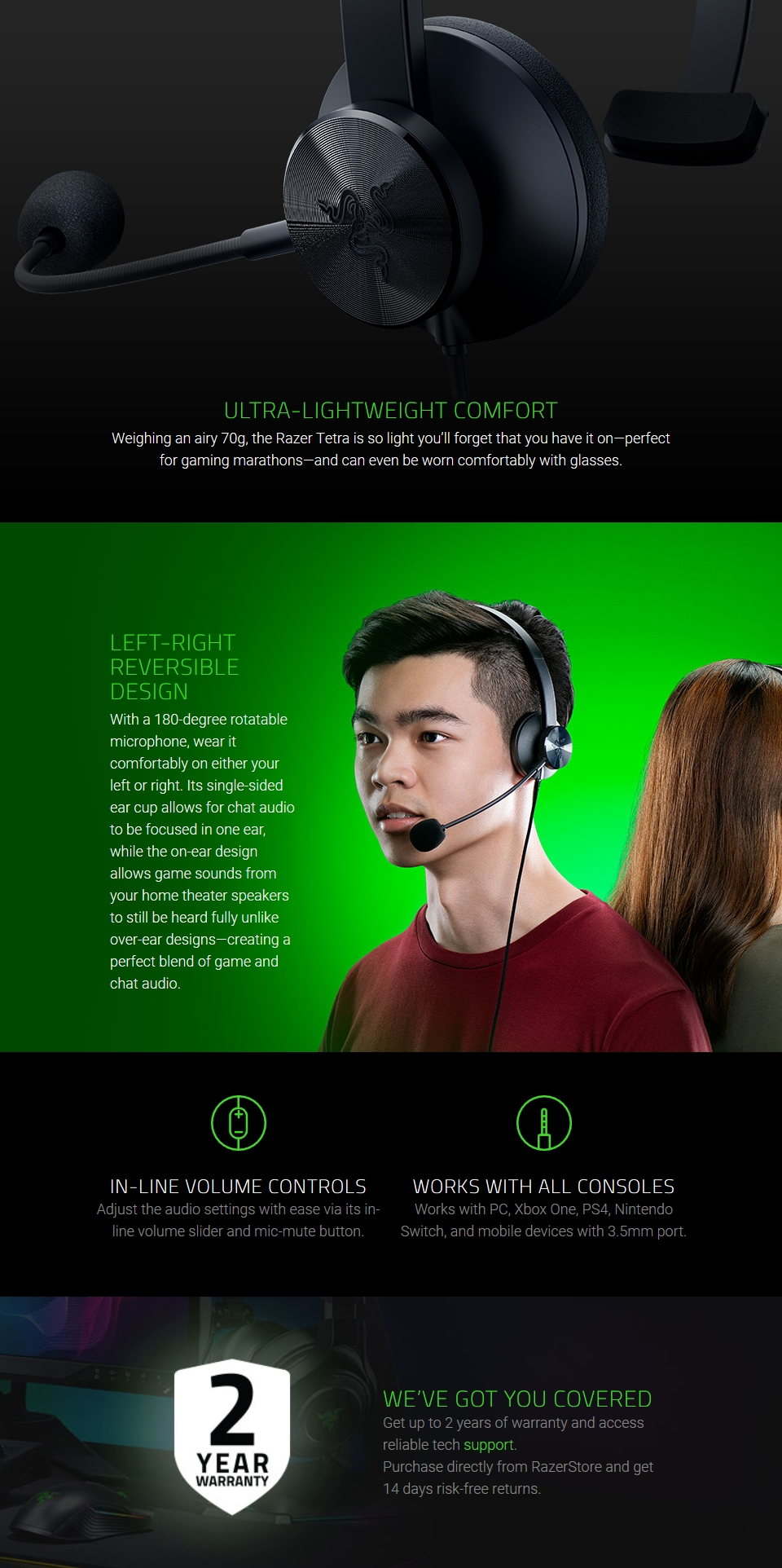 Razer Tetra Wired Console Chat Headset features 2