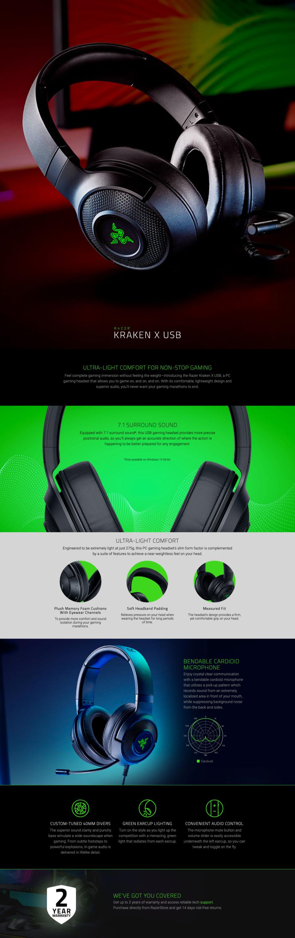 Razer Kraken X USB Gaming Headset features