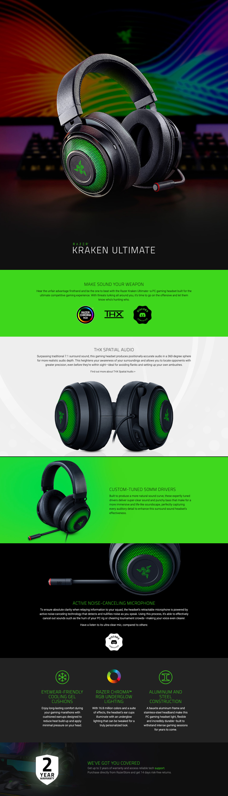 Razer Kraken Ultimate Gaming Headset features