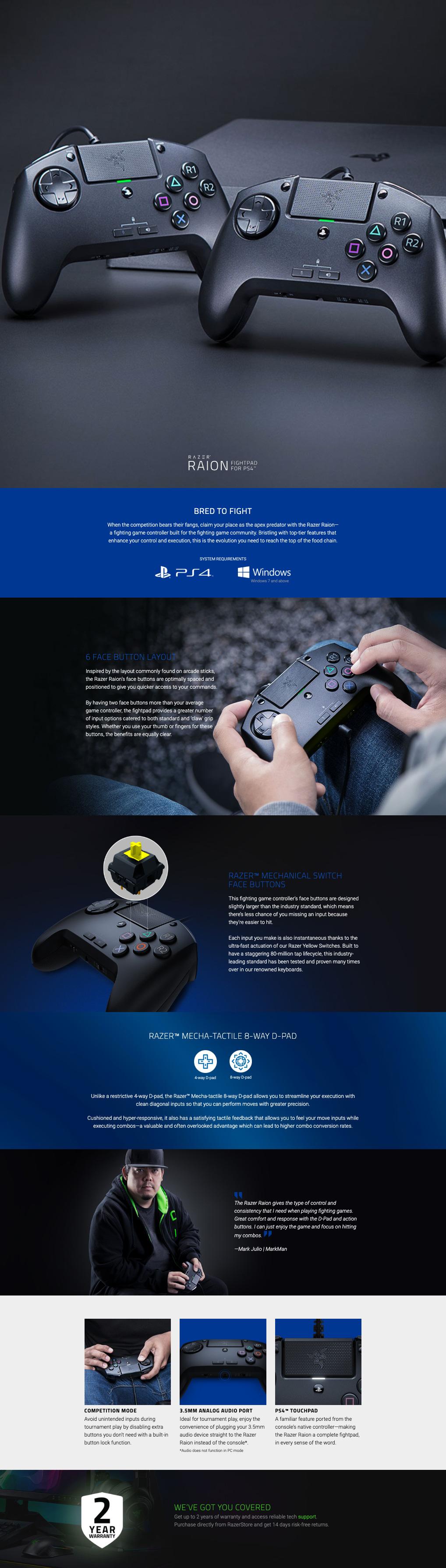 בקר גיימינג חוטי Razer Raion Fightpad for PS4