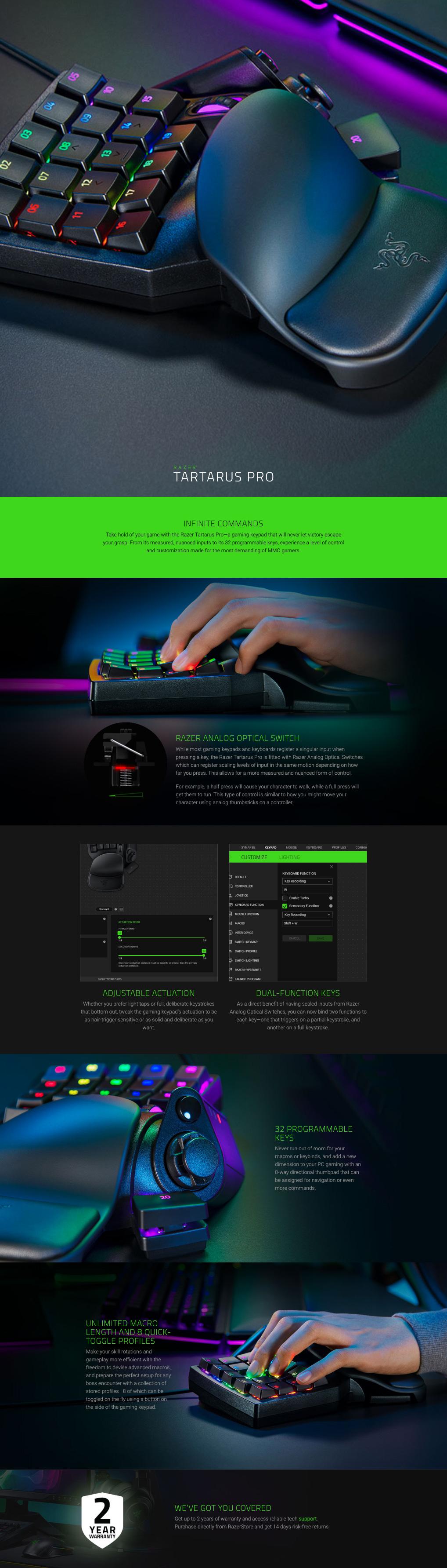 Razer Tartarus Pro Analog Optical Gaming Keypad features