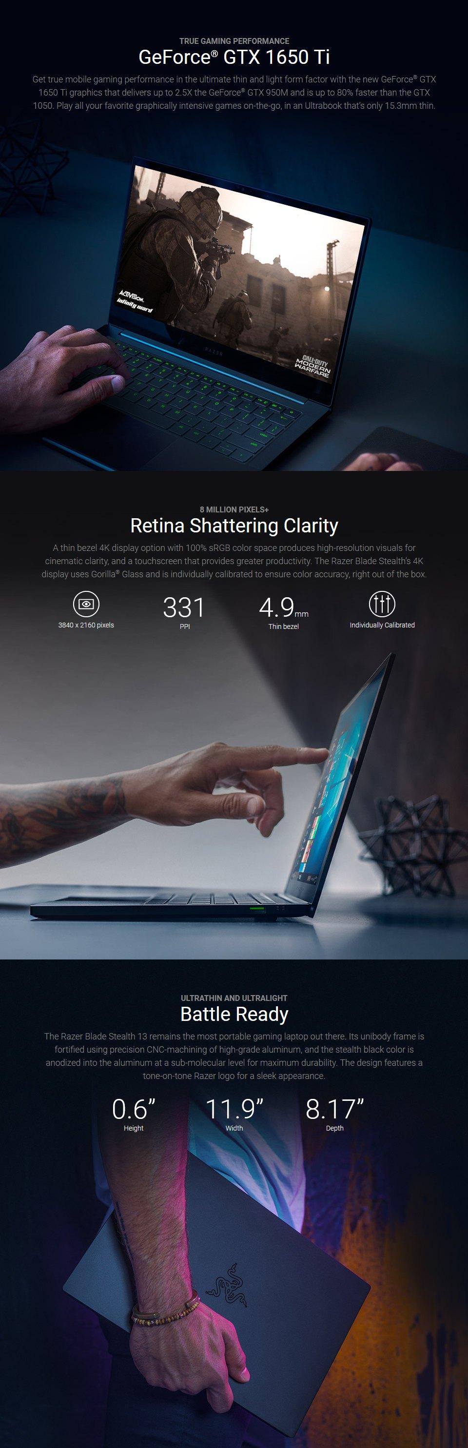 Razer Blade Stealth 13.3in Core i7 GTX 1650 Ti Ultrabook features 2