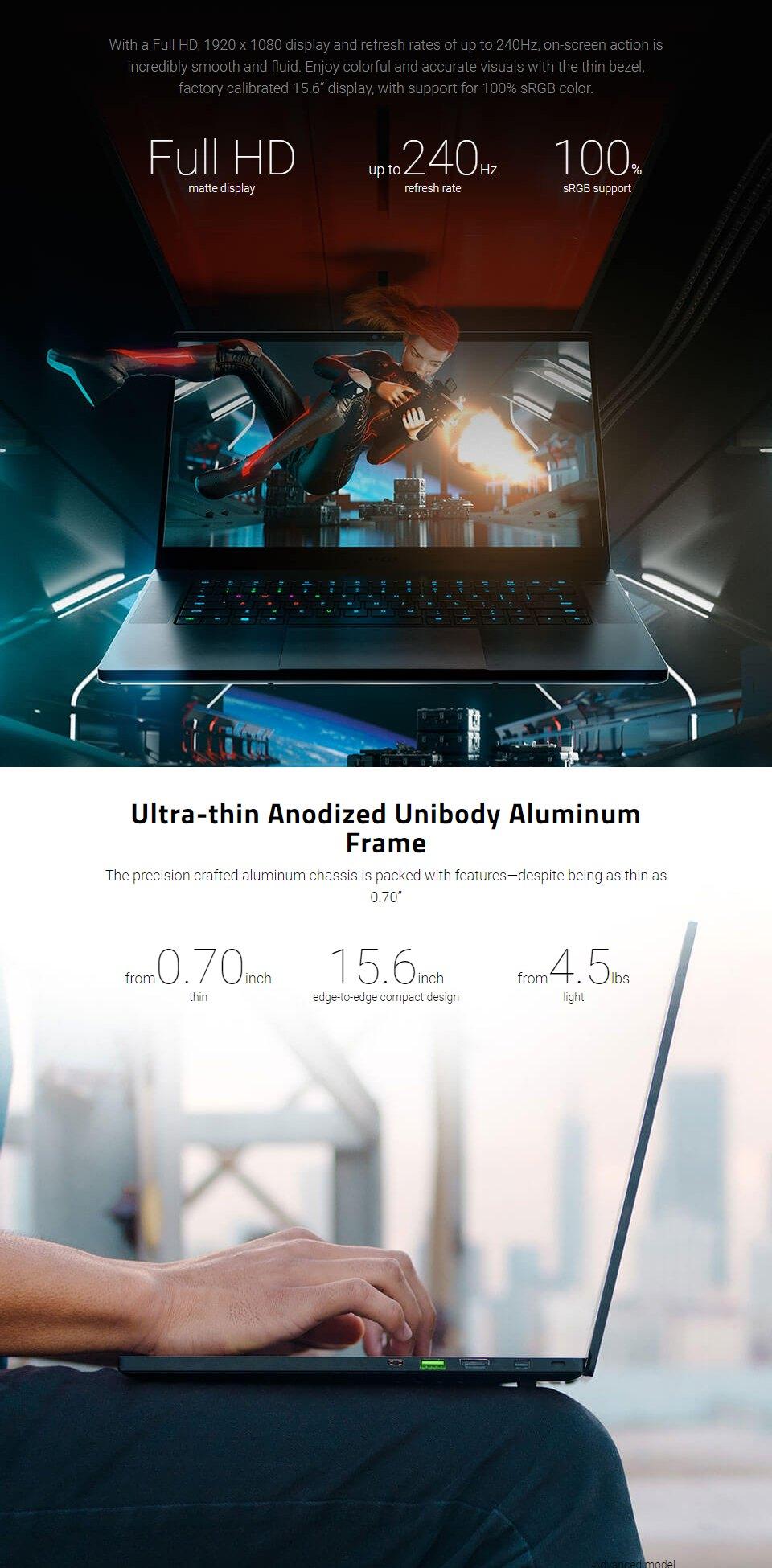 Razer Blade Core i7 RTX 2070 15.6in 240hz Notebook [03137E02] features 2