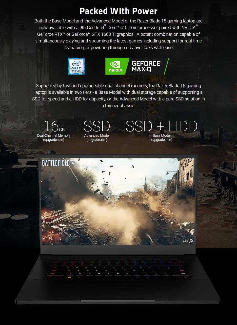 Razer Blade Core i7 RTX 2070 15.6in 240hz Notebook [03137E02] features 3