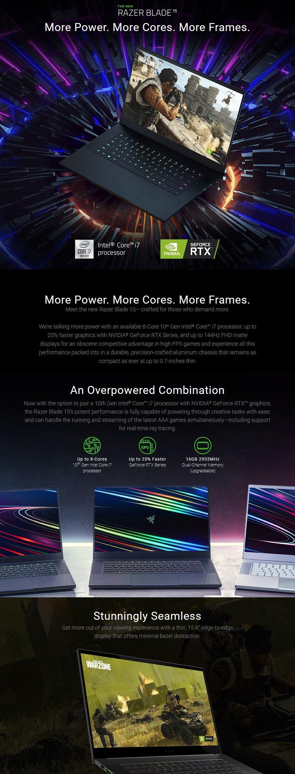 Razer Blade Core i7 RTX 2070 Super 15.6in Laptop [03304E42] features