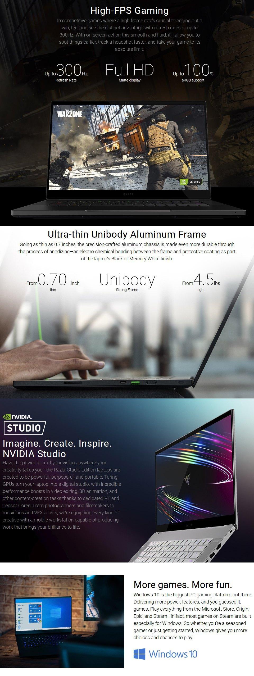Razer Blade Core i7 RTX 2070 Super 15.6in Laptop [03304E42] features 2