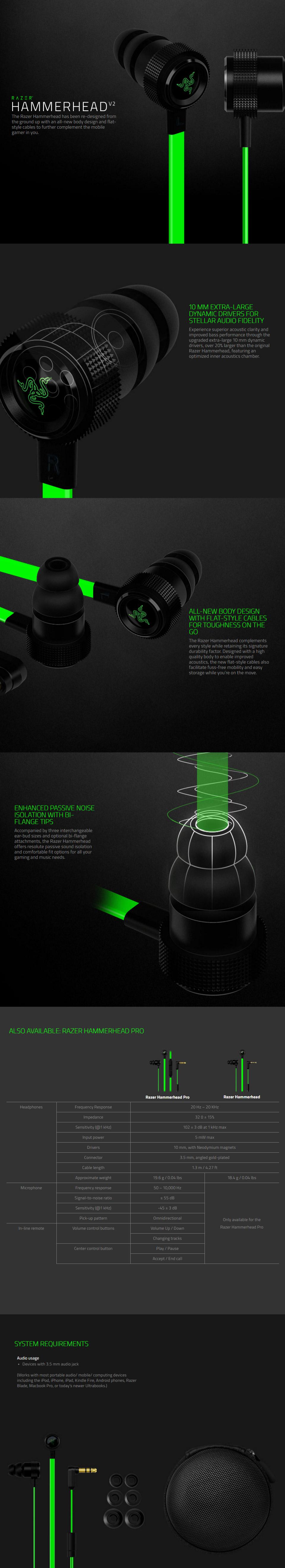 Razer Hammerhead V2 Analog In-Ear Headset
