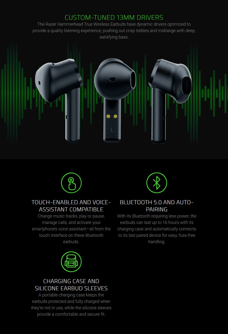 Razer Hammerhead Wireless In-Ear Headphones features 2