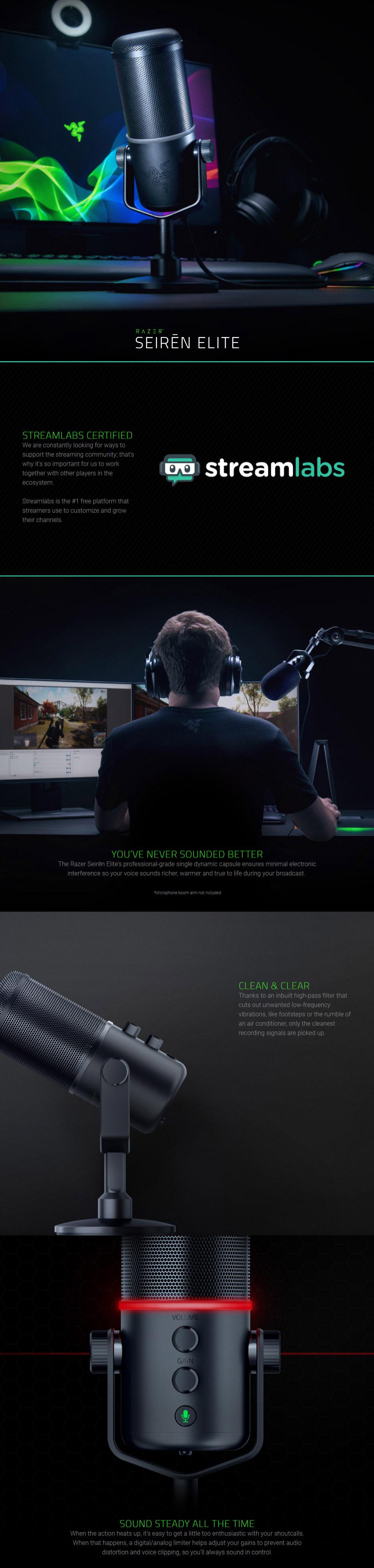 Razer Seiren Elite Professional Grade Dynamic Streaming Mic