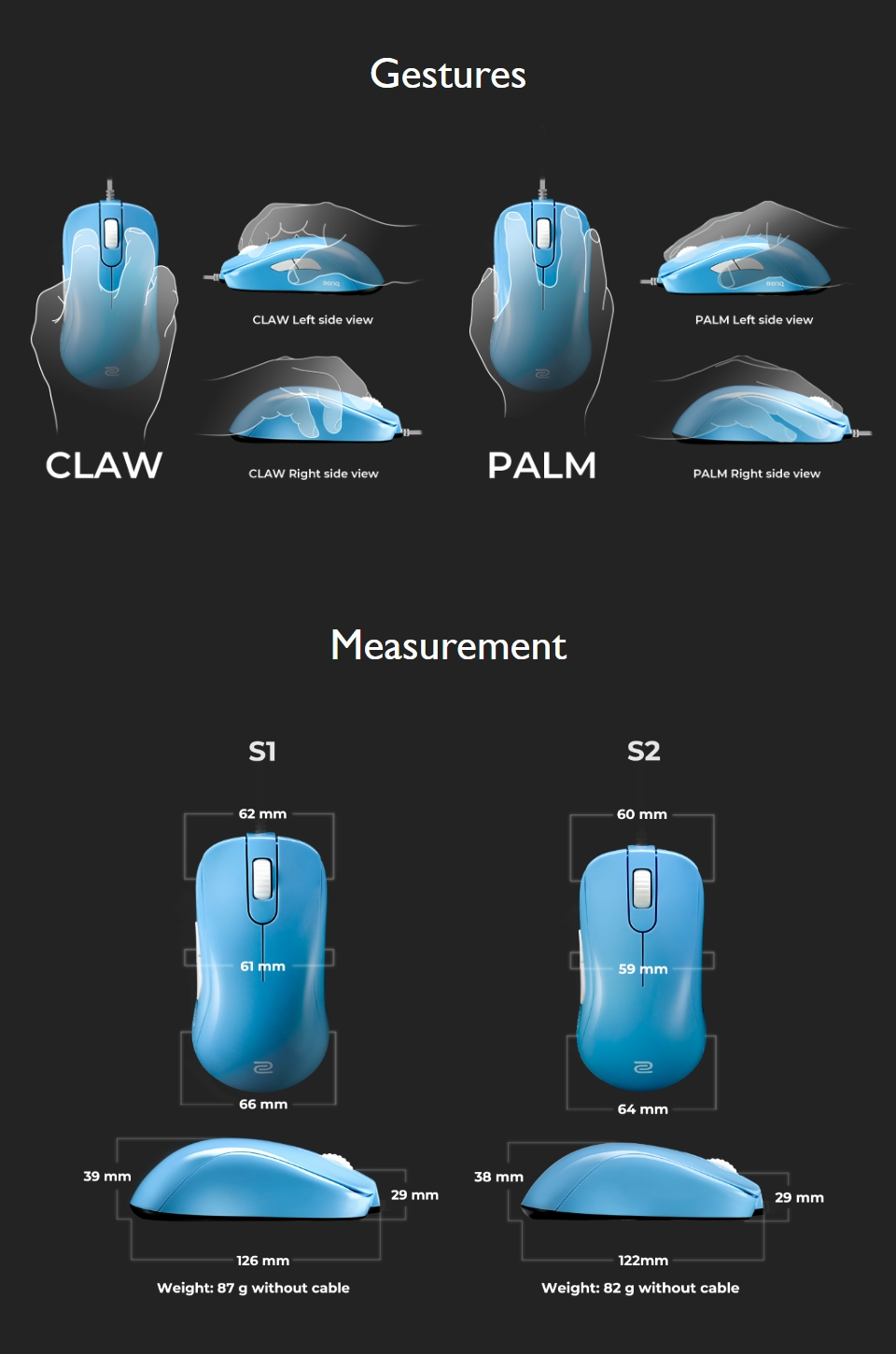 Zowie S1 Gaming Mouse Divina Blue features 2