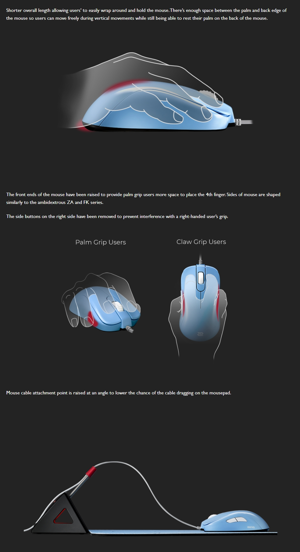 Zowie S2 Gaming Mouse Divina Blue features