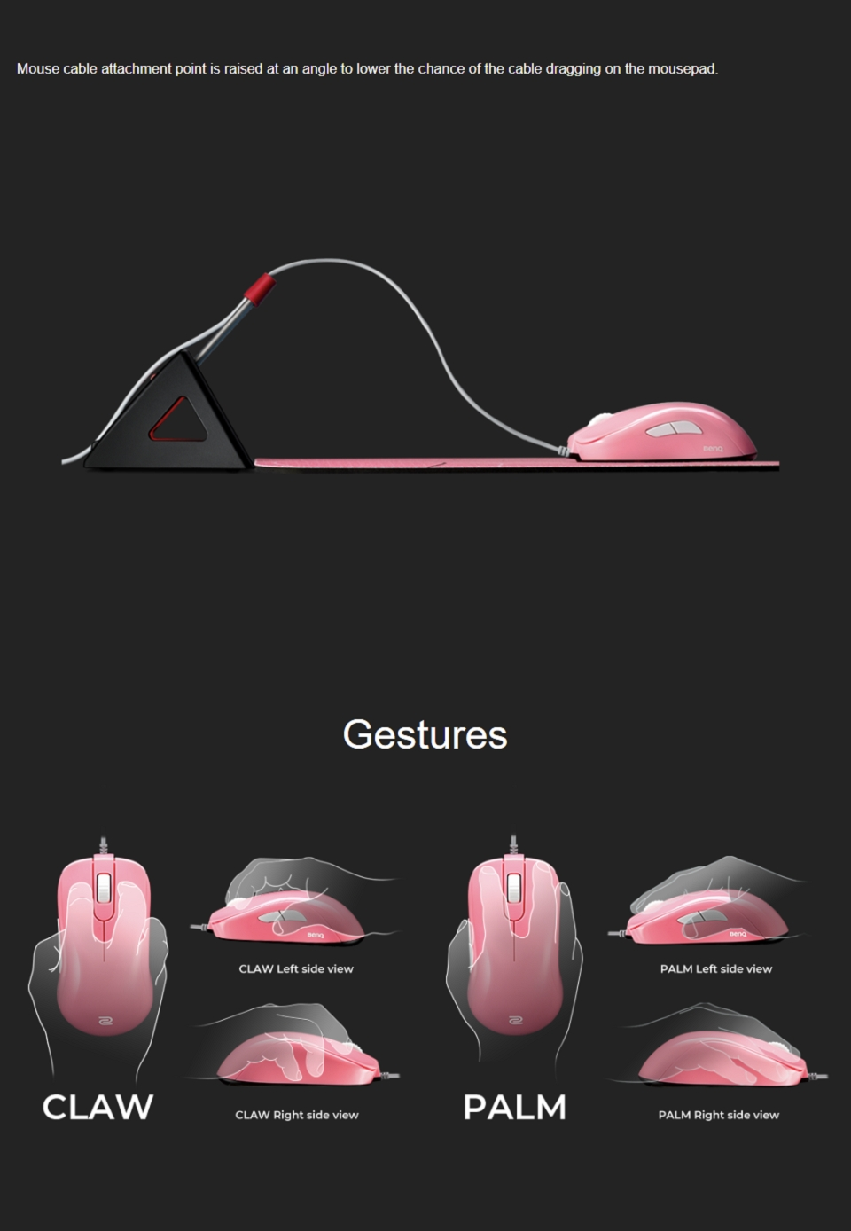 Zowie S2 Gaming Mouse Divina Pink features 2