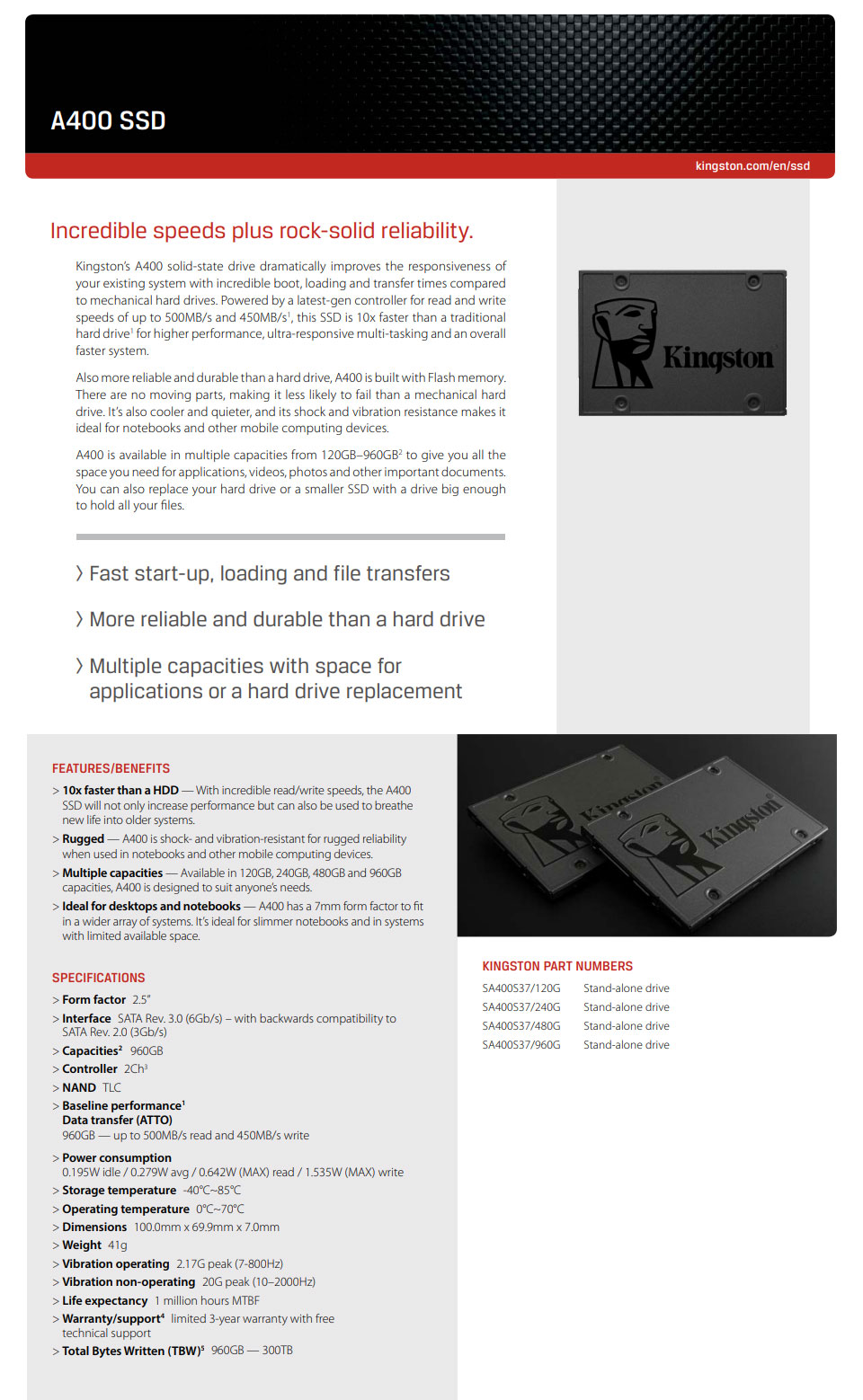 Kingston A400 2 5in SATA SSD 960GB