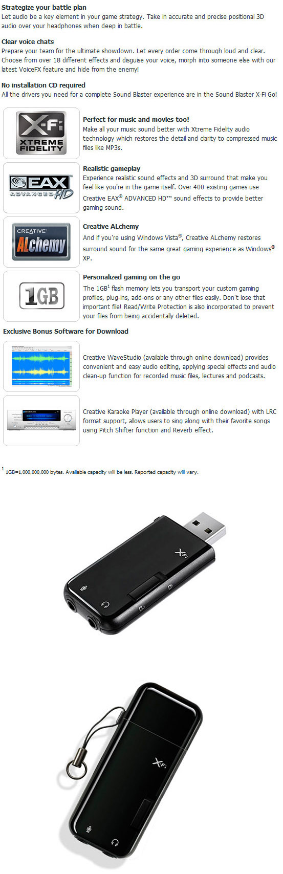 Creative Sound Blaster X-Fi Go! USB Sound Card [SB-GO] : PC Case Gear