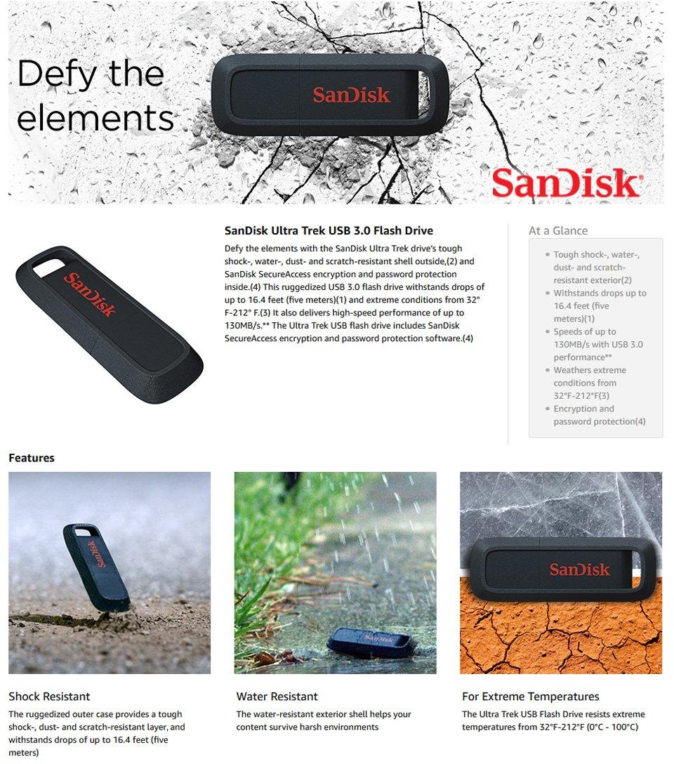 SanDisk Ultra Trek Rugged USB 3.0 Flash Drive 128GB features
