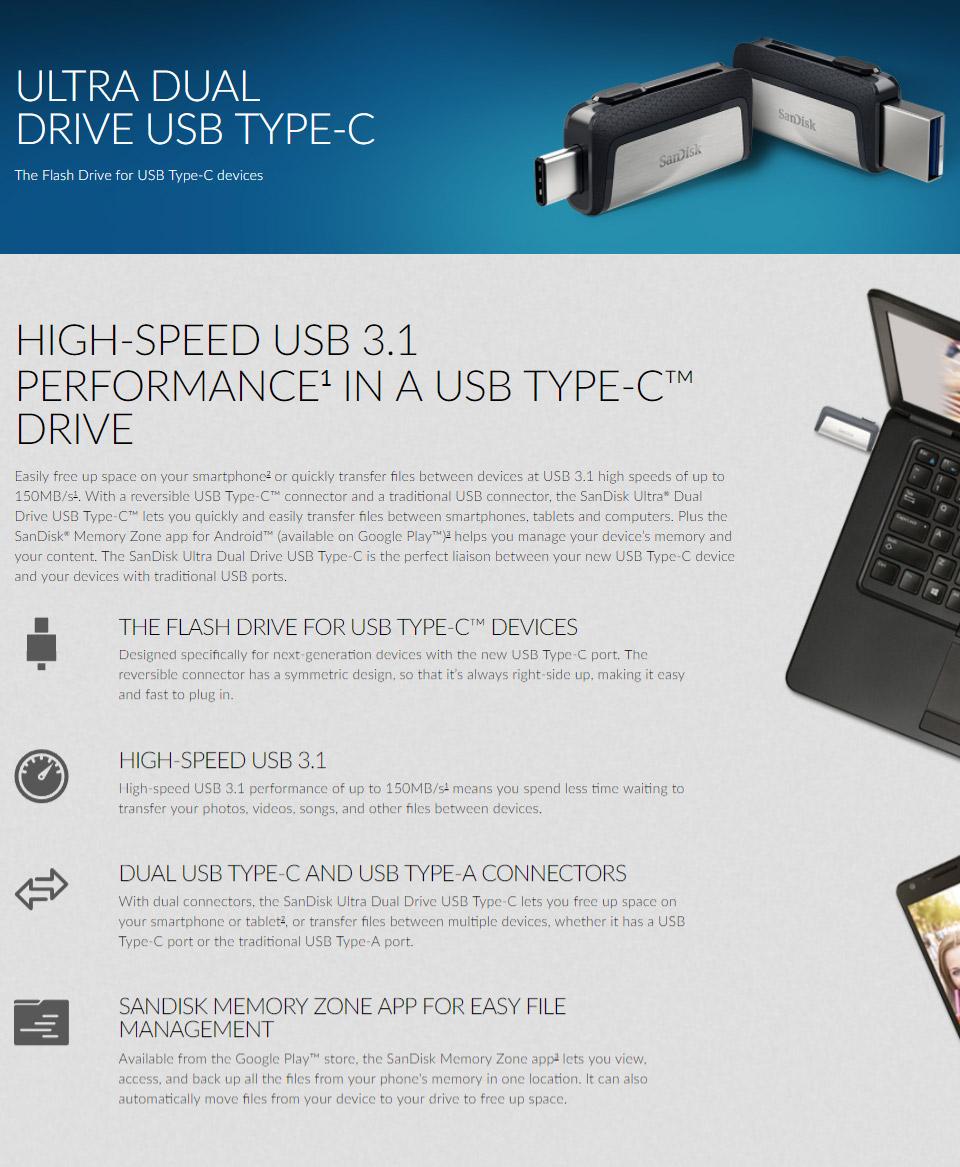 SanDisk Ultra Dual Type-C 3 1 USB Flash Drive 64GB