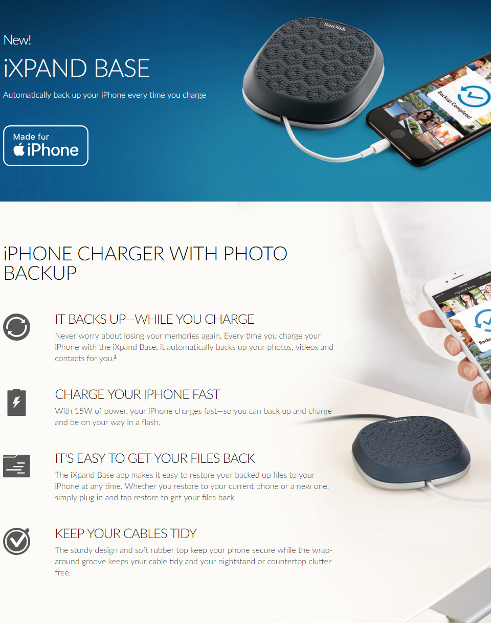 SanDisk iXpand Base iPhone Charger & Backup 64GB [SDIB20N