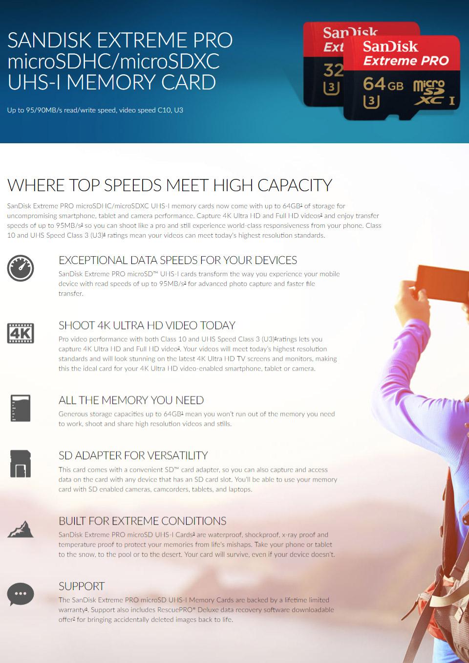 SanDisk Extreme Pro 64GB microSDXC UHS-I [SDSQXXG-064G] : PC Case Gear