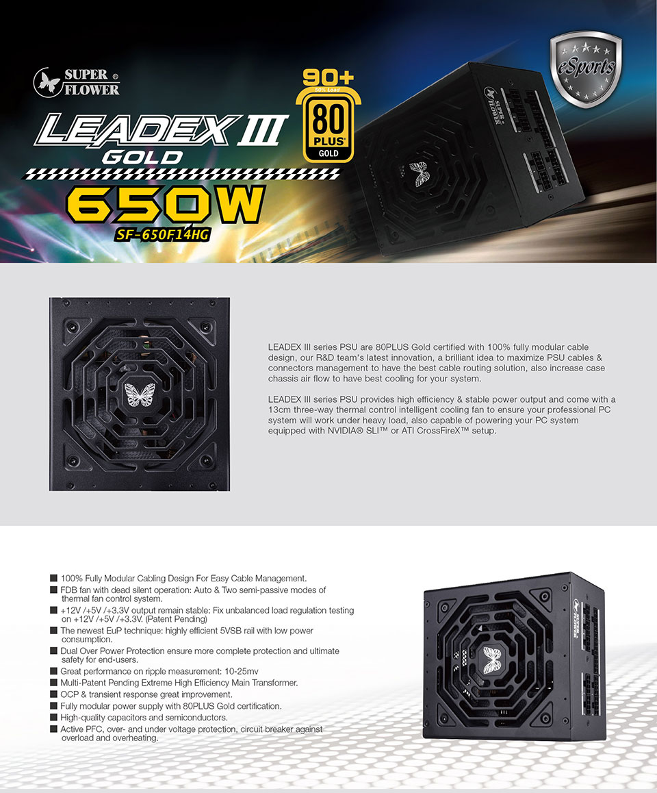 Super Flower Leadex III Gold 650W Power Supply features
