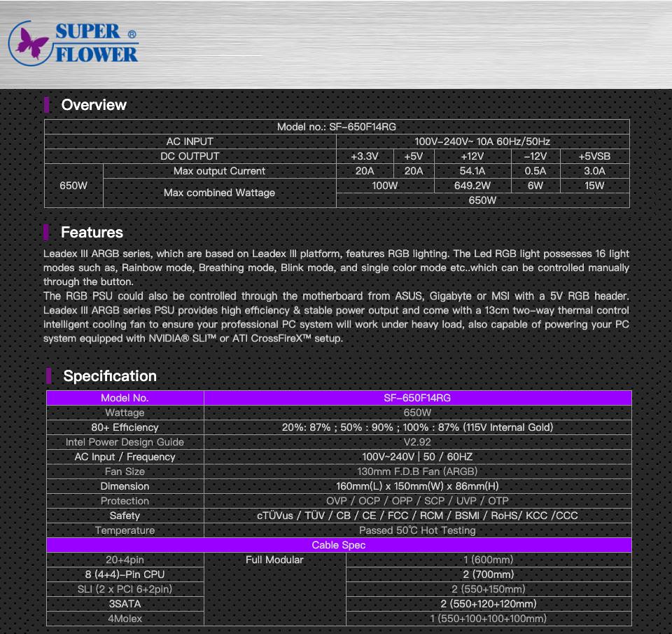 Super Flower Leadex III ARGB Gold 650W Power Supply