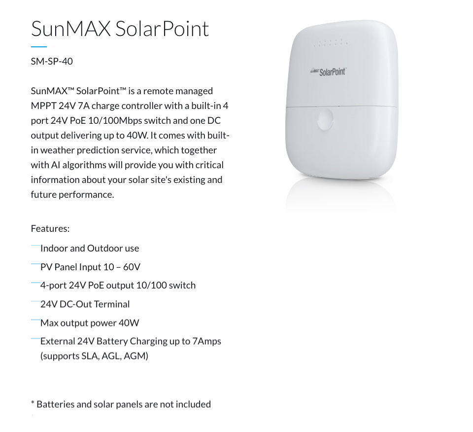 Ubiquiti SunMAX SolarPoint Outdoor Managed Charge Controller features