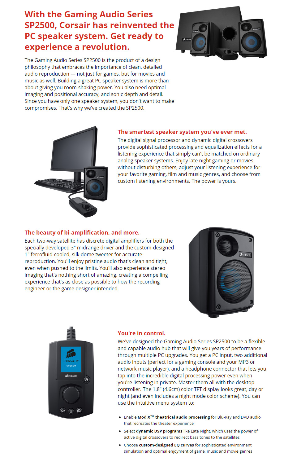 Corsair SP-2500 High-power 2 1 PC Speaker System [SP-2500