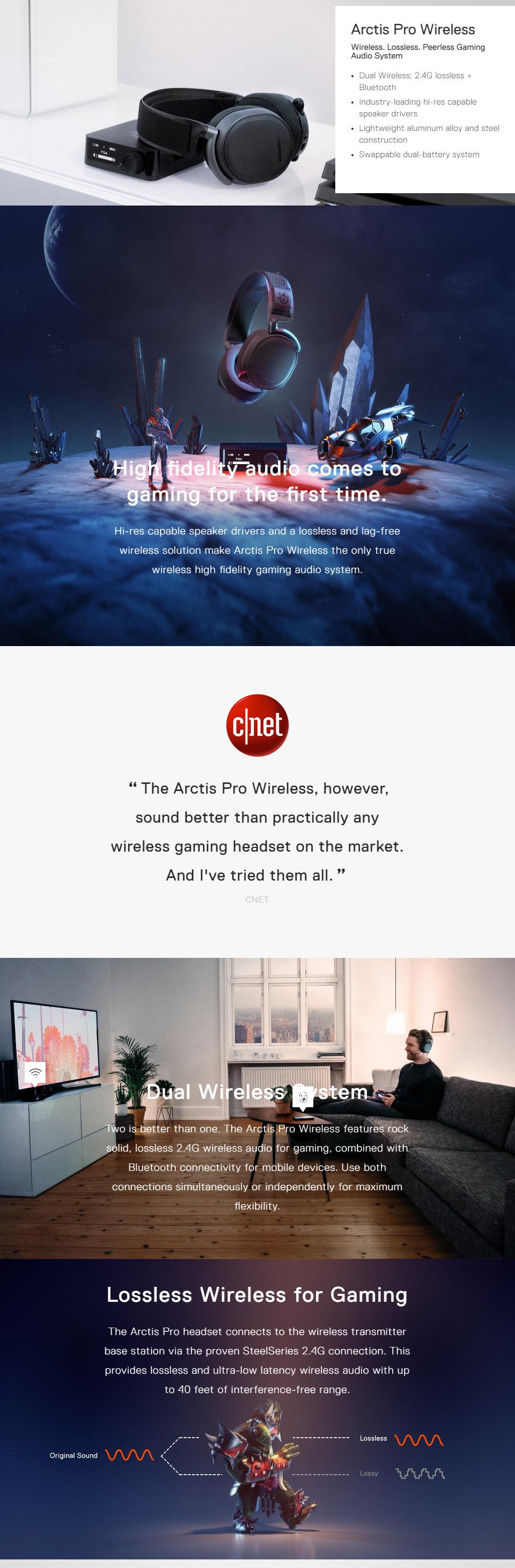 אוזניות גיימינג אלחוטיות SteelSeries Arctis Pro Wireless - Black