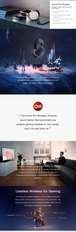 אוזניות גיימינג אלחוטיות SteelSeries Arctis Pro Wireless - White