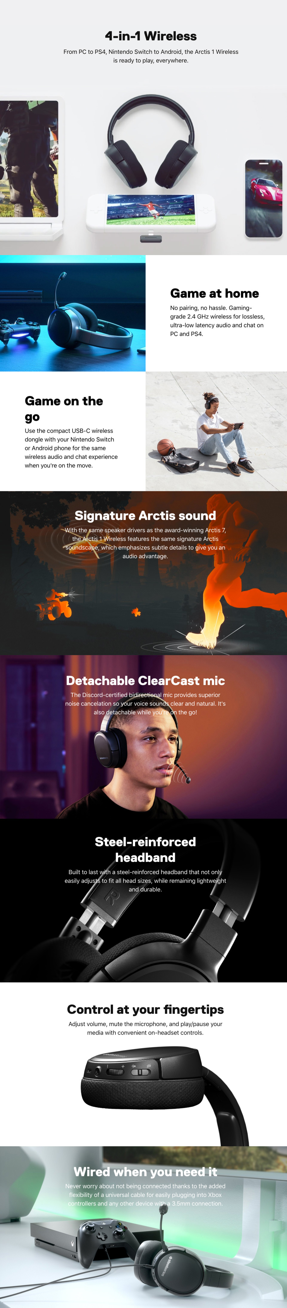 SteelSeries Arctis 1 Wireless Gaming Headset features