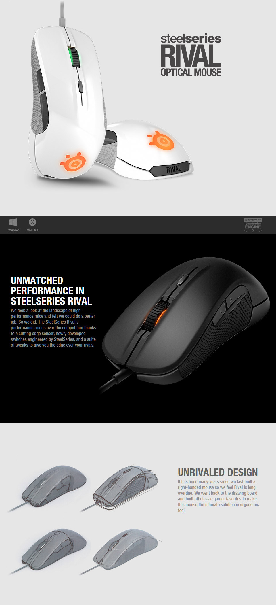 SteelSeries Rival 300 Optical Gaming Mouse Silver [SS-62350] : PC Case Gear