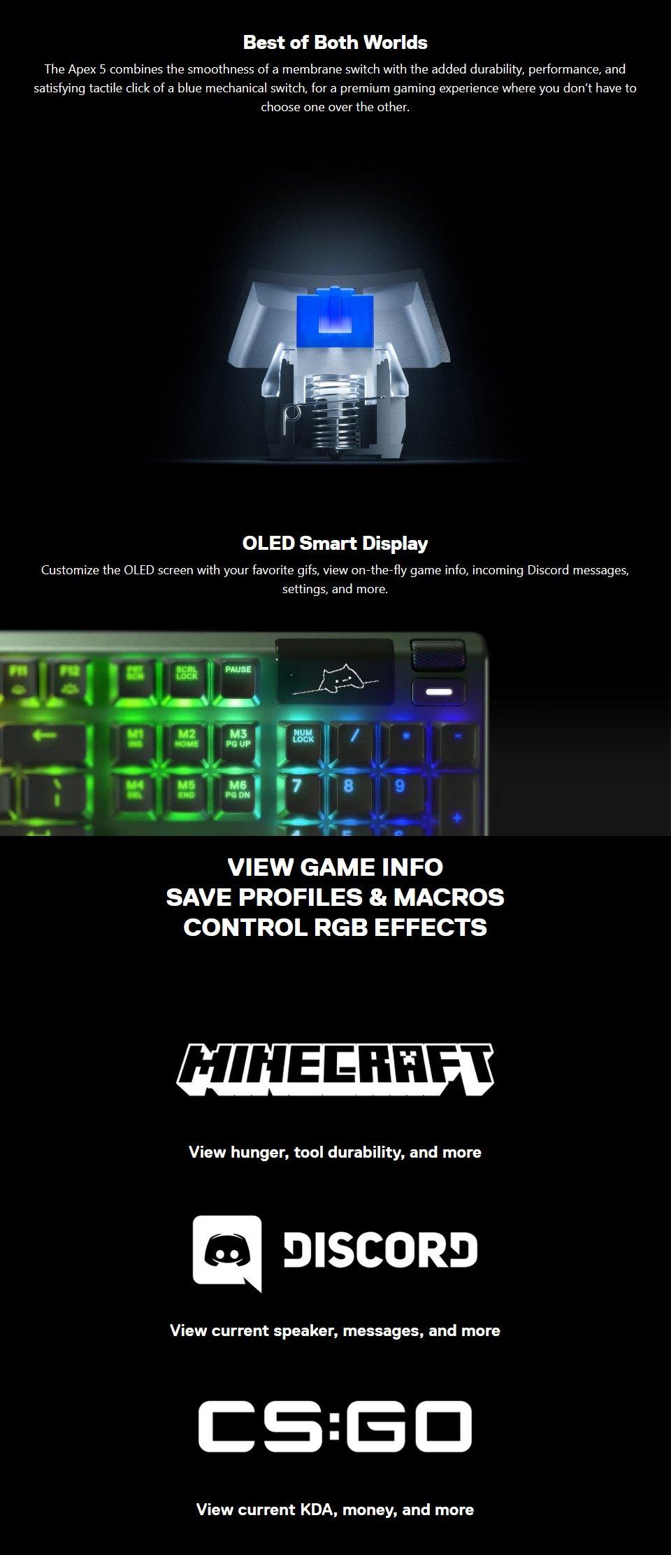 SteelSeries Apex 5 Hybrid RGB Gaming Keyboard features