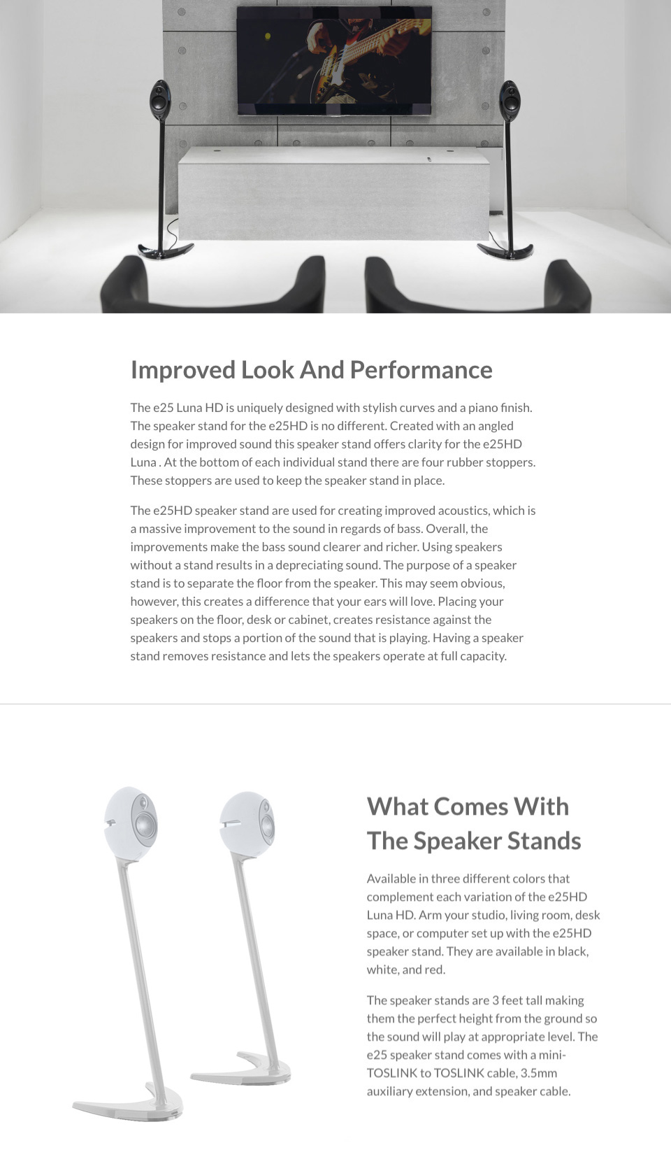 Edifier SS01C Speaker Stands White Suits E25, E25HD & E235 features