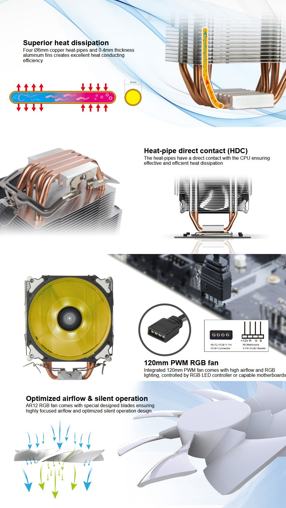 SilverStone AR12 RGB CPU Cooler features