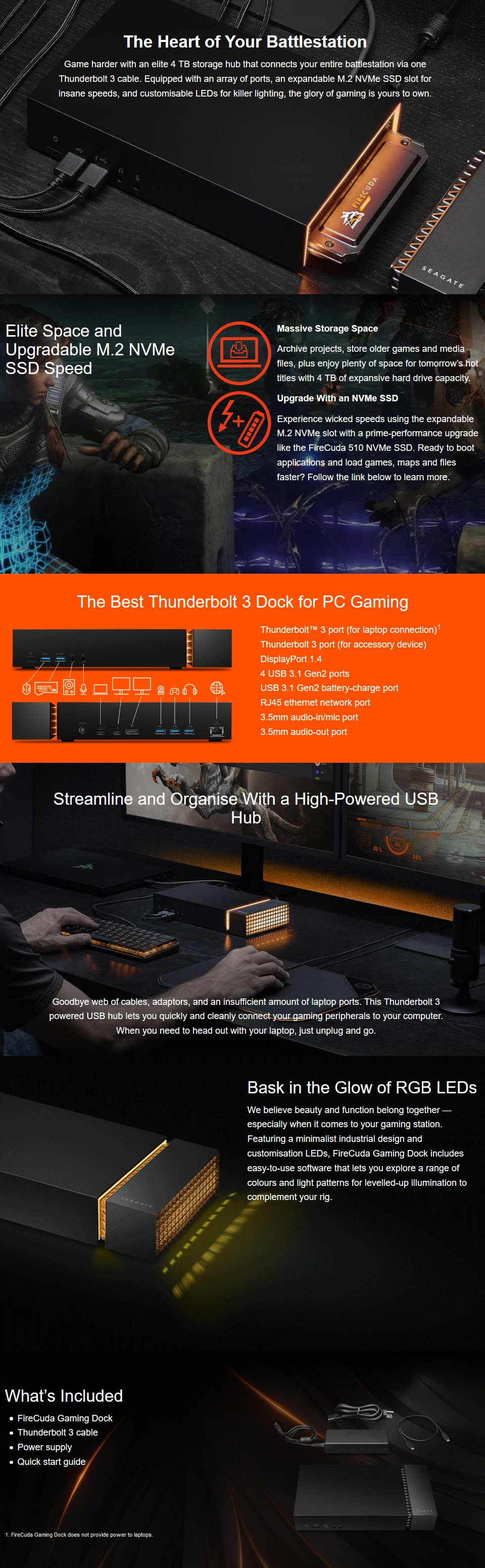 Seagate Firecudda Gaming Dock features
