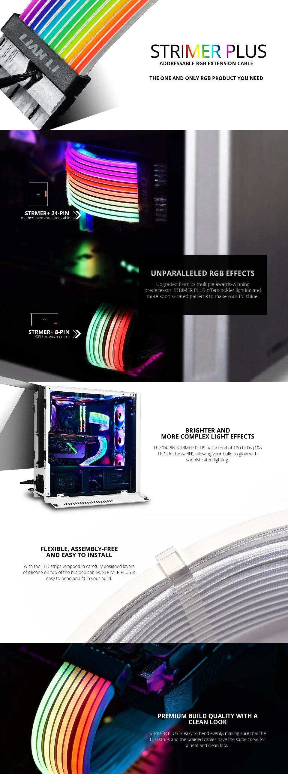 Lian Li Strimer+ ARGB 24 Pin Extension Cable features