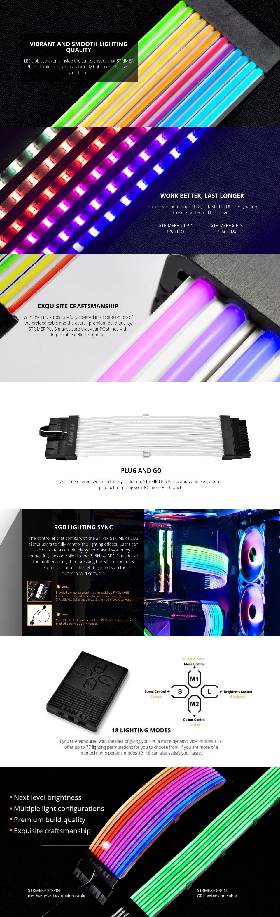Lian Li Strimer+ ARGB 24 Pin Extension Cable features 2