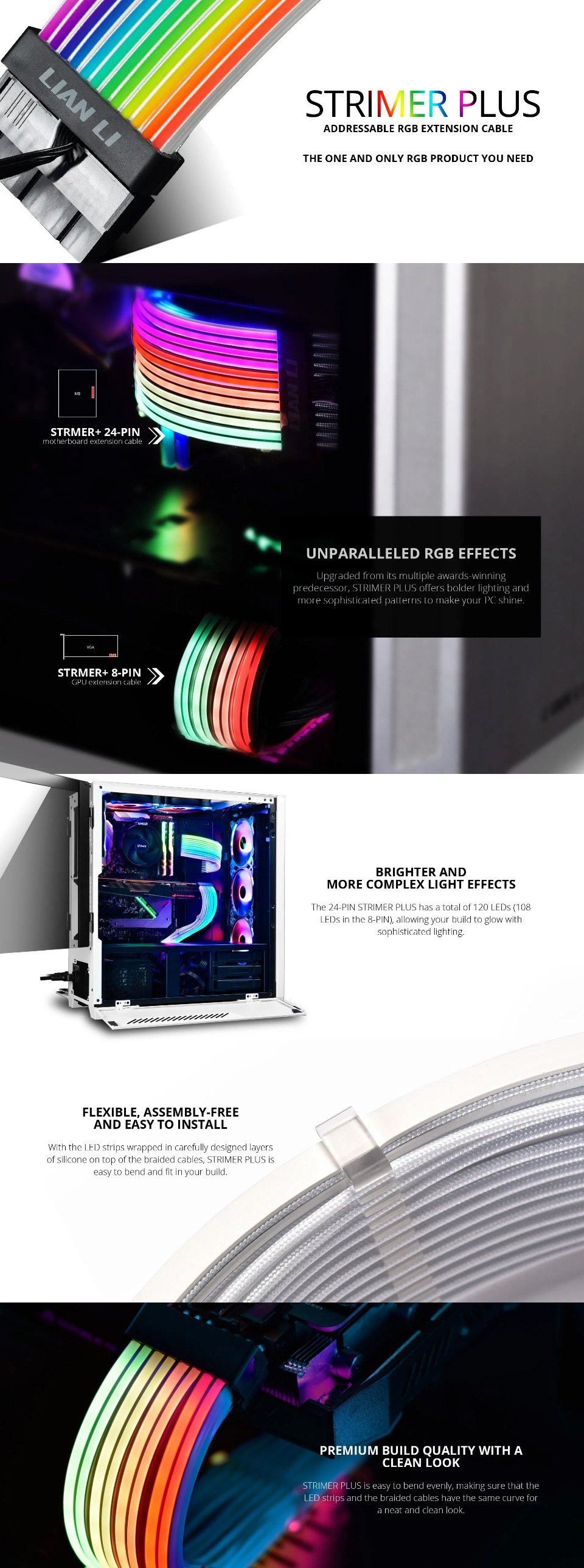 Lian Li Strimer+ ARGB 8 Pin Extension Cable features