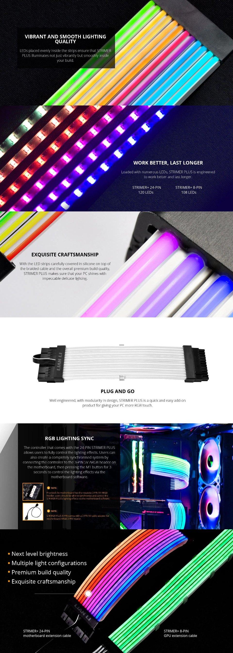 Lian Li Strimer+ ARGB 8 Pin Extension Cable features 2