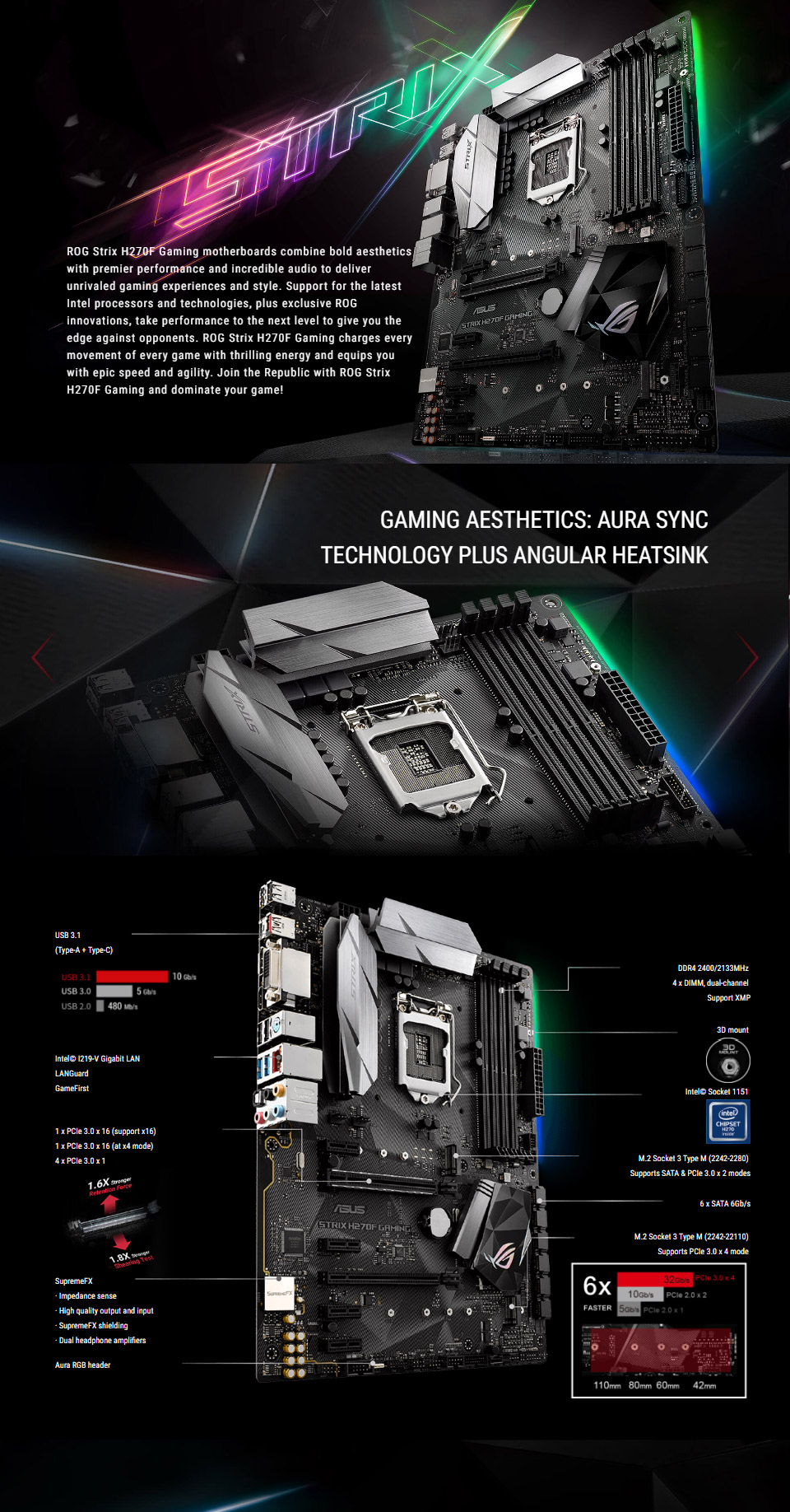 ASUS Strix H270F Gaming Motherboard [STRIX-H270F-GAMING] : PC Case Gear