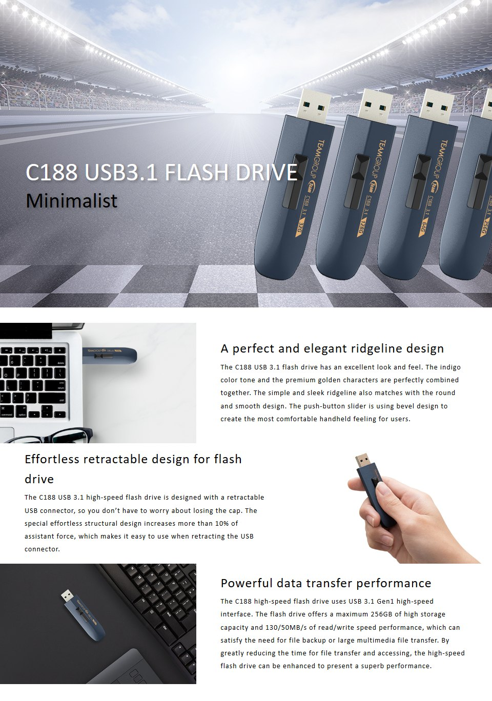 Team Group C188 USB 3.1 Flash Drive 256GB Indigo features